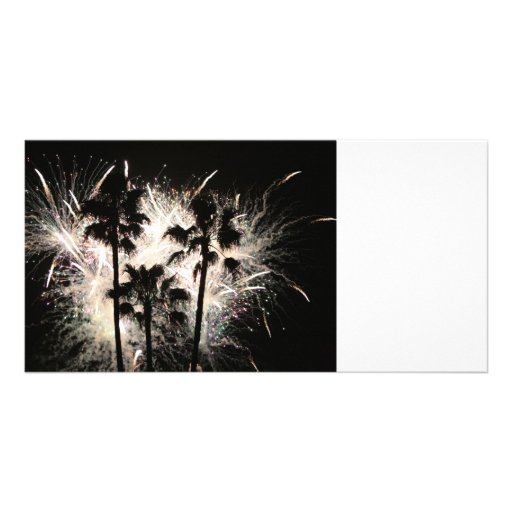 fireworks in palm trees.jpg personalized photo card