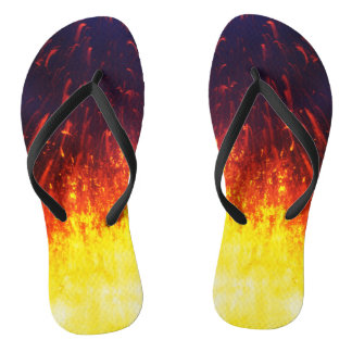 Fireworks lava in crater eruption volcano flip flops
