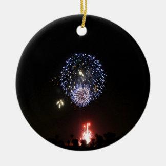 fireworks light joy ceramic ornament
