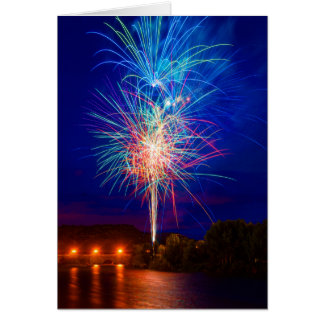 Fireworks on the river card