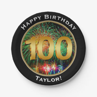 Fireworks One Hundredth 100th Birthday with Name Paper Plate