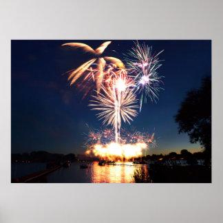 Fireworks Over Cedar Island Lake 2016 Poster