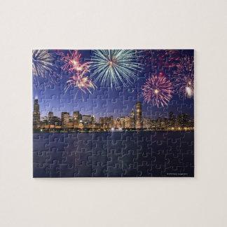 Fireworks over Chicago skyline 2 Jigsaw Puzzle