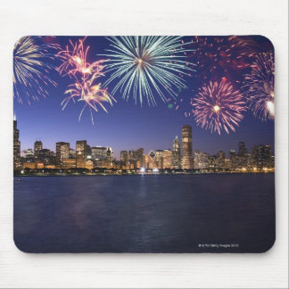 Fireworks over Chicago skyline 2 Mouse Pad