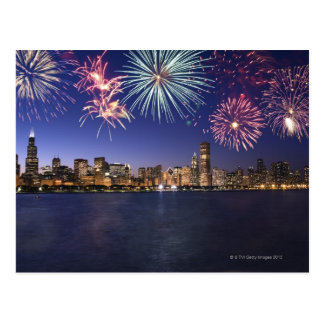 Fireworks over Chicago skyline 2 Post Card