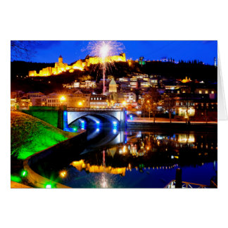 Fireworks over old Tbilisi Card