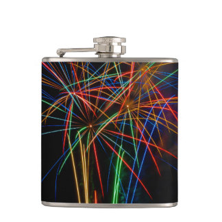 Fireworks photography at dusk hip flask
