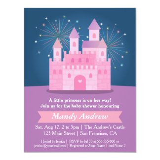Fireworks Princess Castle Baby Girl Shower Party Card