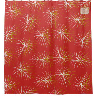 Fireworks Red Gold White Modern Shower Curtain Set