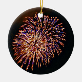 Fireworks Round Ceramic Ornament