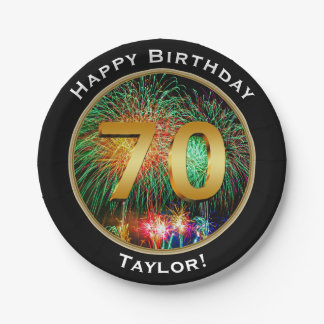 Fireworks seventieth 70th  Birthday with Name Paper Plate