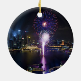 Fireworks Show in Boat Quay Singapore City Skyline Ceramic Ornament