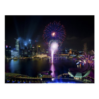 Fireworks Show in Boat Quay Singapore City Skyline Postcard