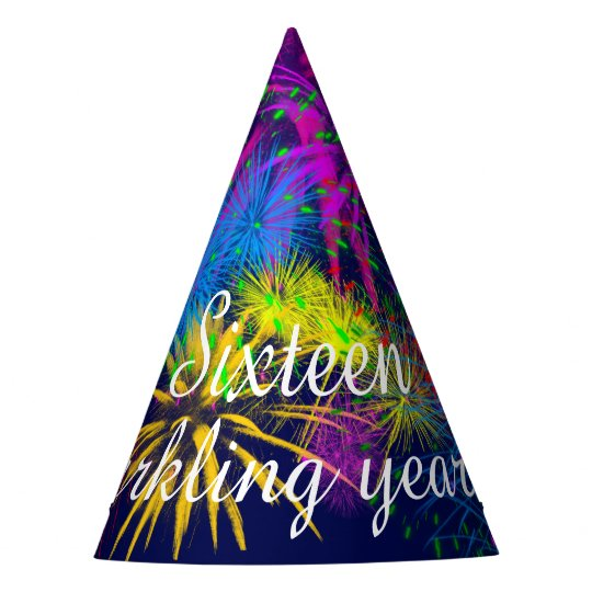 Fireworks Sixteen sparkling years customizable Party Hat