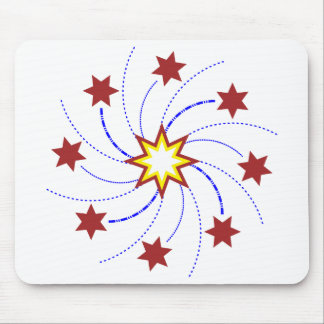 Fireworks Star Swirl - Red, Yellow, Blue on White Mouse Pad