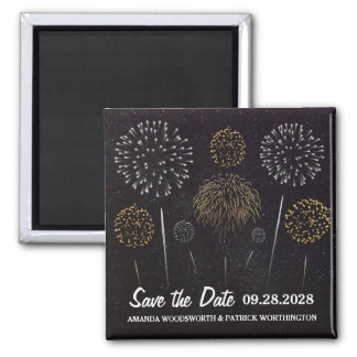 Fireworks Themed Black Gold Save The Date Magnet