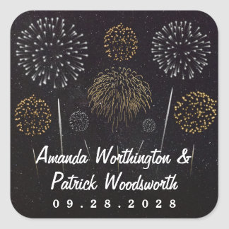 Fireworks Themed Black Gold Silver Wedding Favor Square Sticker