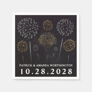 Fireworks Themed Black Gold Silver Wedding Napkins Disposable Napkins