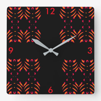 Fireworks Wall Clock-Home -- Red/Marigold/Black Square Wall Clock