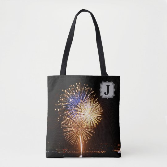Fireworks with Custom Initial Tote Bag