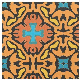 Firey Abstract with Blue Accents Fabric