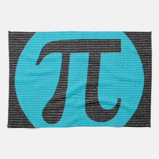 First 10,000 digits of Pi, blue on black Kitchen Towel