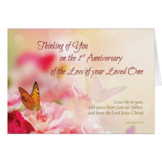 Death anniversary cards photocards invitations more first 1st anniversary of loss of loved one death card stopboris Choice Image