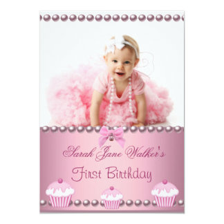 First 1st Birthday Girl Pink Cupcakes Baby 5x7 Paper Invitation Card