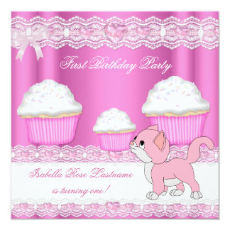 """First 1st Birthday Girl Pink Cupcakes Baby Kitten 5.25"""" Square Invitation Card"""