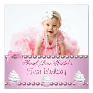 "First 1st Birthday Girl Pink Pearls Baby 5.25"" Square Invitation Card"