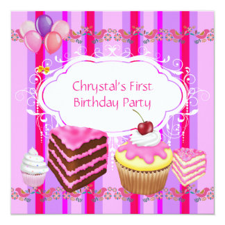 First 1st Birthday Party Girls Pink Sweets Cupcake Card