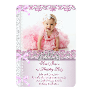 First 1st Birthday Party Girls Princess Pink 2 Personalized Invites