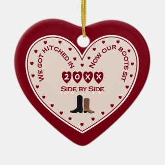 First 1st Christmas Married Country Western Gift Ceramic Ornament