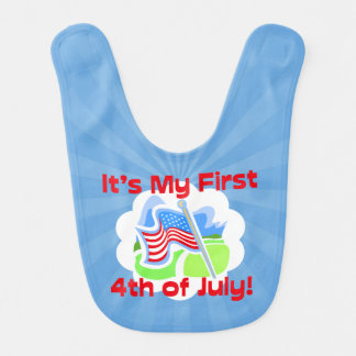 First 4th of July Colorful Blue Baby Bib