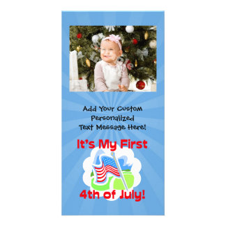 First 4th of July Colorful Blue Baby Picture Card