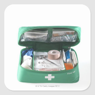 First aid kit. square sticker
