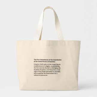 First Amendment of the Constitution Large Tote Bag