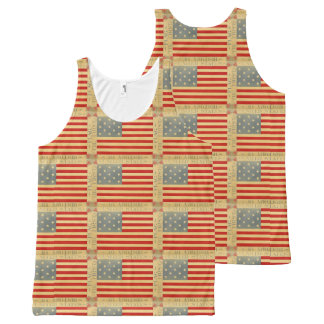 First American Flag Pattern Vintage Patriotic USA All-Over-Print Tank Top