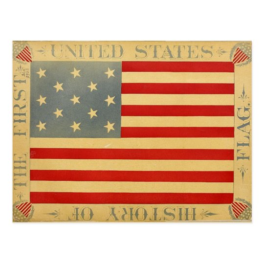 First American Flag Vintage Patriotic USA Postcard