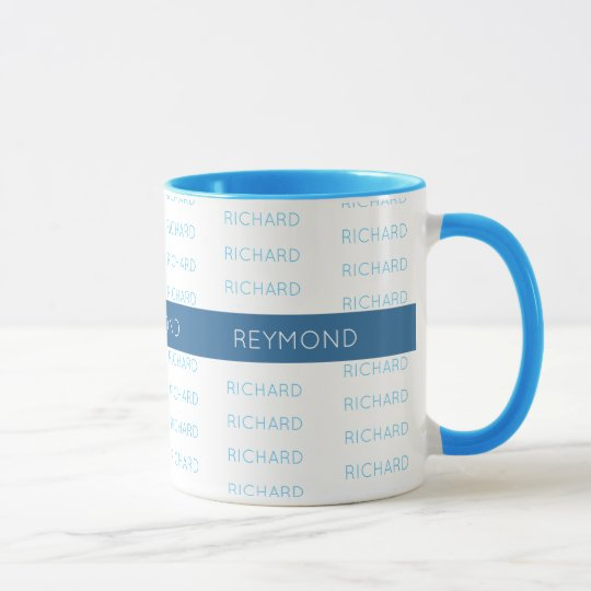 first and last names elegant typography blue mug