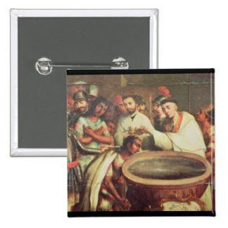 First Baptism of the Indians by the Dominicans 2 Inch Square Button