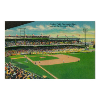 First Base Bleachers View of Crosley Field Poster