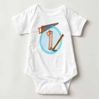 First Birthday 1 year old Tools Construction Party Baby Bodysuit