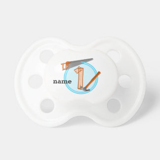 First Birthday 1 year old Tools Construction Party Pacifier