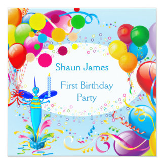 First Birthday 1st Boy Blue Balloons Bug 2 Personalized Announcements