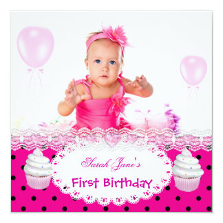 """First Birthday 1st Girl Hot Pink Cupcakes Baby 5.25"""" Square Invitation Card"""