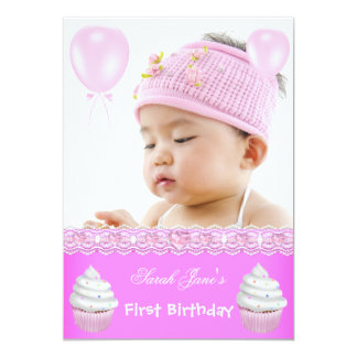 """First Birthday 1st Girl Hot Pink Cupcakes Baby 5"""" X 7"""" Invitation Card"""