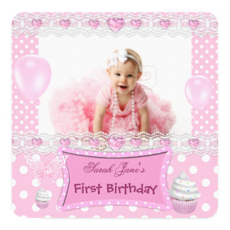 """First Birthday 1st Girl Pink Baby Polka Dots 5.25"""" Square Invitation Card"""