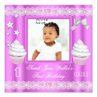 """First Birthday 1st Girl Pink Cupcake Baby 5.25"""" Square Invitation Card"""