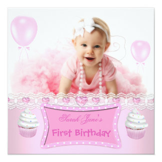 """First Birthday 1st Girl Pink Cupcakes Baby 2 5.25"""" Square Invitation Card"""